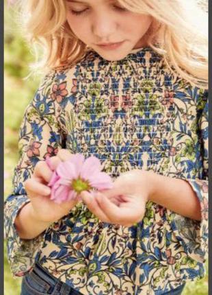 Next.красивая вискозная блуза в цветочный принт. 8 лет. рост 1...