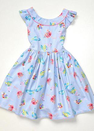 Monsoon. пышное хлопковое платье в голубую полоску с фламинго....