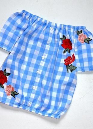 River island. шикарная блуза бело голубая клетка и вышивка. 2-...