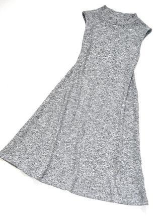 F&f. трикотажное серое платье а силуэта  в рубчик.  8-9 лет. р...