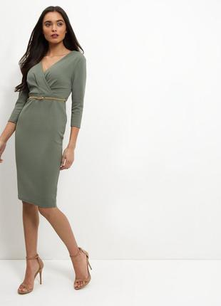 Красивое платье по фигуре,цвета хаки