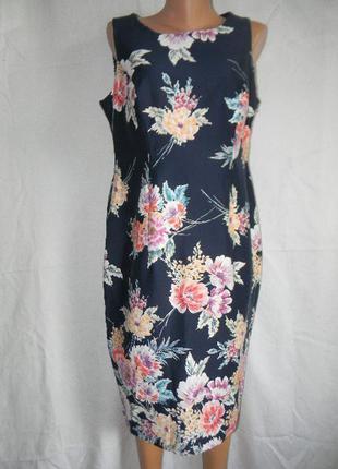 Новое натуральное платье с цветочным принтом