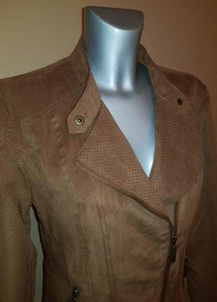 Замшевая куртка косуха авиатор с перфорацией