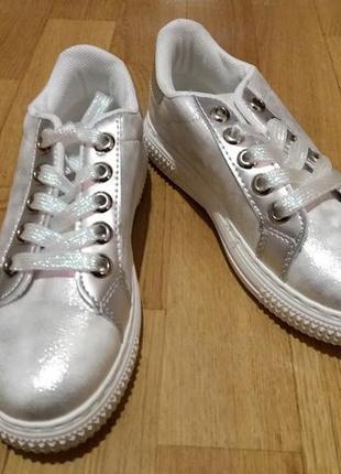 Кроссовки серебро 31-32   размер