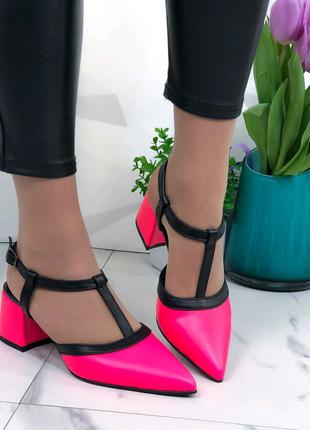 Женские открытые туфли, туфли на низком каблуке, яркие лодочки
