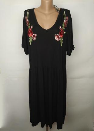 Платье новое трикотажное красивое с вышивкой аппликация большо...