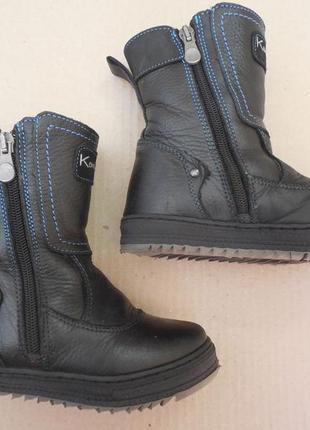 Зимние кожаные ботинки на цигейке для мальчика, размер 26