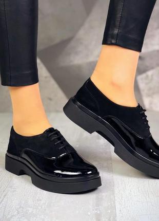 36-40. базовые лаковые замшевые туфли броги на шнурках. люкс к...