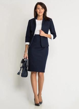 Комплект (платье сине-белое + жакет синий). Размер 46
