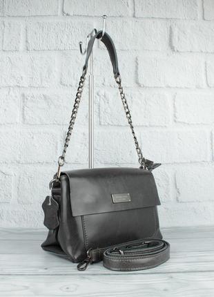 Небольшая кожаная женская сумочка мк 1019 темно-серая на 2 отдела