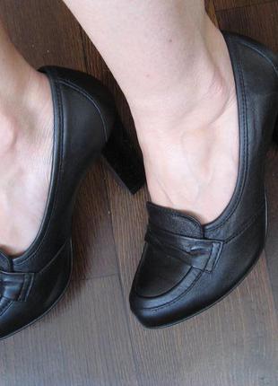 Кожаные туфли, высокий устойчивый широкий каблук, бренд baldac...