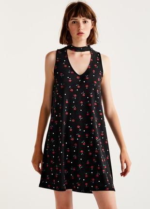 Платье с воротником pull&bear р. s, черное,сарафан в горошек, ...