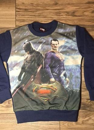 Реглан супергерои 7-8 лет, superman batman,супермен,бетмен,коф...