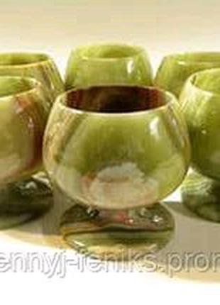 Бокалы для коньяка, вина, виски из оникса натурального камня (6 ш