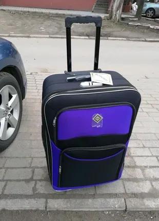 Чемодан дорожный на колесах тканевый ручная кладь Польша
