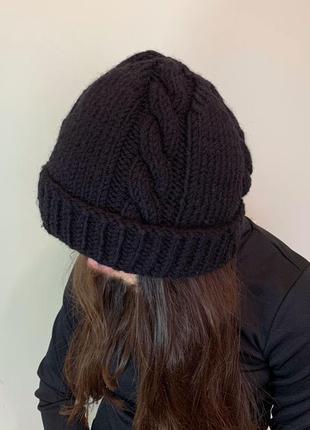 Чорна шапка, женская шапка, черная шапка, зимняя шапка.