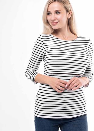 Кофта блузка лонгслив для беременных и кормящих в полоску