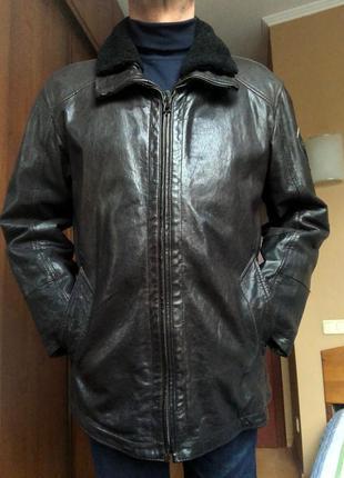 Утеплённая кожаная куртка strellson (швейцария),оригинал