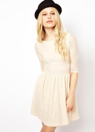 Гипюровое платье белое золотое шампань айвори бежевое с подкла...