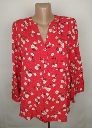 Блуза красная натуральная в цветочек primark uk 16/44/xl