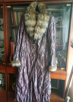 Розвантажуюсь#длинное пальто с натуральным мехом ricco
