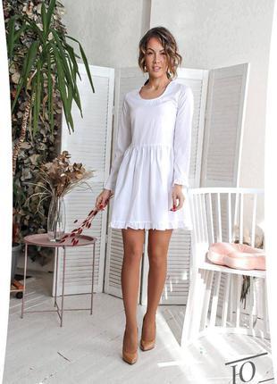 Женское белое короткое платье