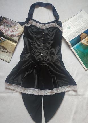 Короткое платье-сюртук горичная  - playboy  на невысокий рост