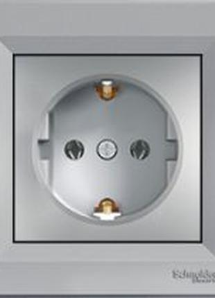 Розетка с заземлением Шнайдер Асфора сталь EPH2900162