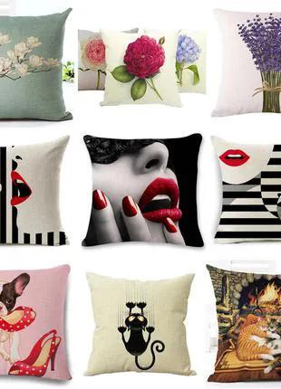 Декоративная подушка, наволочка 45x45, диванная, интерьерная