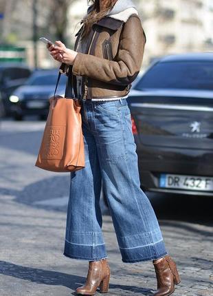 Крутые джинсы кюлоты, укороченые с бахромой, высокая талия l--...