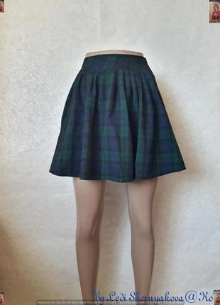 Новая молодёжная стильная мини юбка -солнце в клетку зелёного ...