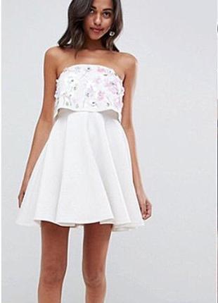 Нарядное платье с пайетками asos вечернее белое