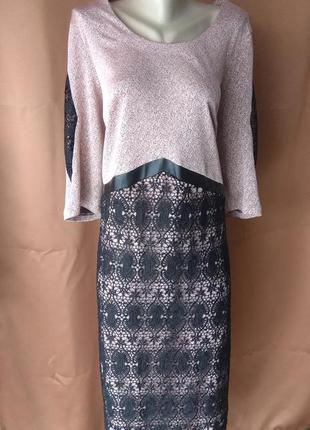 Батальное платье с кружевом и лентой
