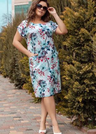 Летнее батальное платье прямого пошива