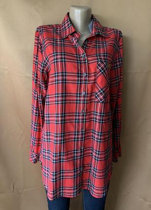Женская рубашка в клетку батального размера