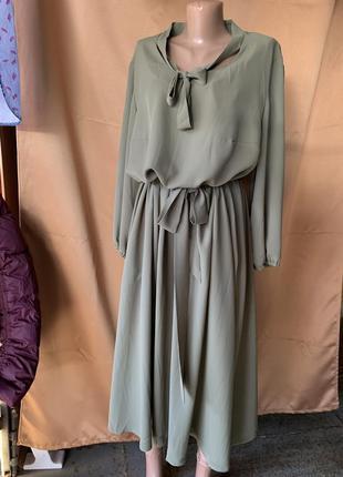 Платье креп-шифон под пояс 54/56 размер