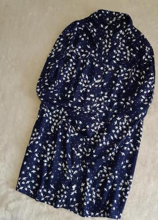 Блузка рубашка v образный вырез в ласточки принт свободная раз...