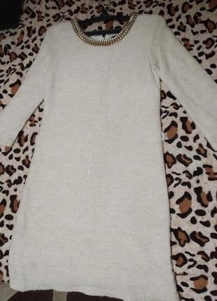 Супер эффектное вязанное платье молочно/бежевого оттенка!турция!