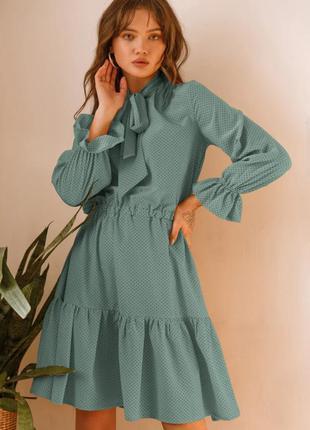 Платье в горошек мятное с воланами