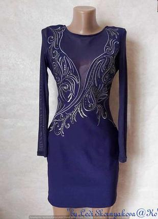 Фирменное lipsy силуетное платье с вышивкой, камушками и рукав...