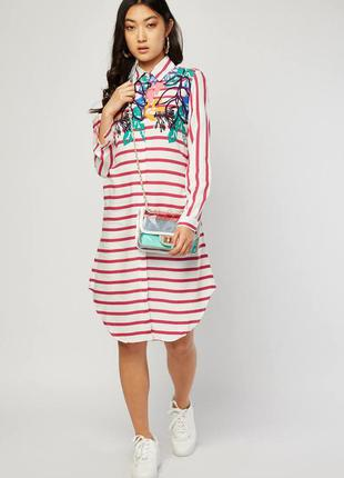 Платье рубашка в полоску с цветами