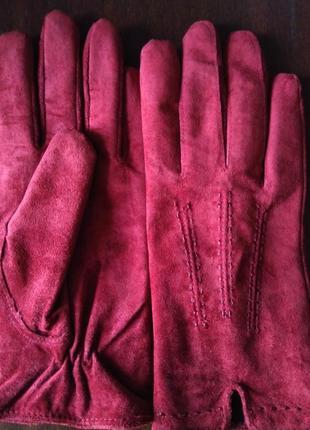 Корралово-красные замшевые перчатки