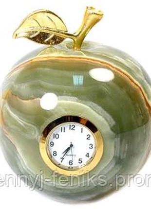 Яблоко с часами из натурального камня Оникс