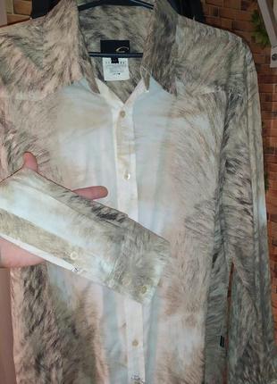 Эксклюзивная рубашка с принтом (италия) дизайн cavalli. лимити...