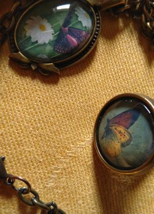Оригинальный комплект украшений подвеска кулон и кольцо