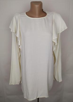 Блуза шикарная кремовая с воланами большой размер h&m uk 16/44/xl