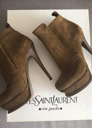 Ботинки yves saint laurent зимние замша оригинал