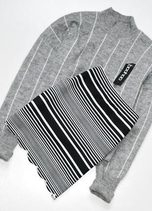 Стильная и красивая юбка в полоску,черно-белая юбка