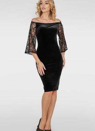 Нарядное вечернее стильное черное платье