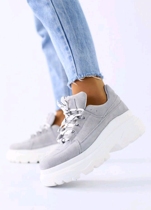 Женские кроссовки серый замш 5203-3